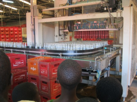 Bottles moving on a conveyer