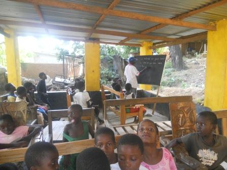 Lesson at the shelter school