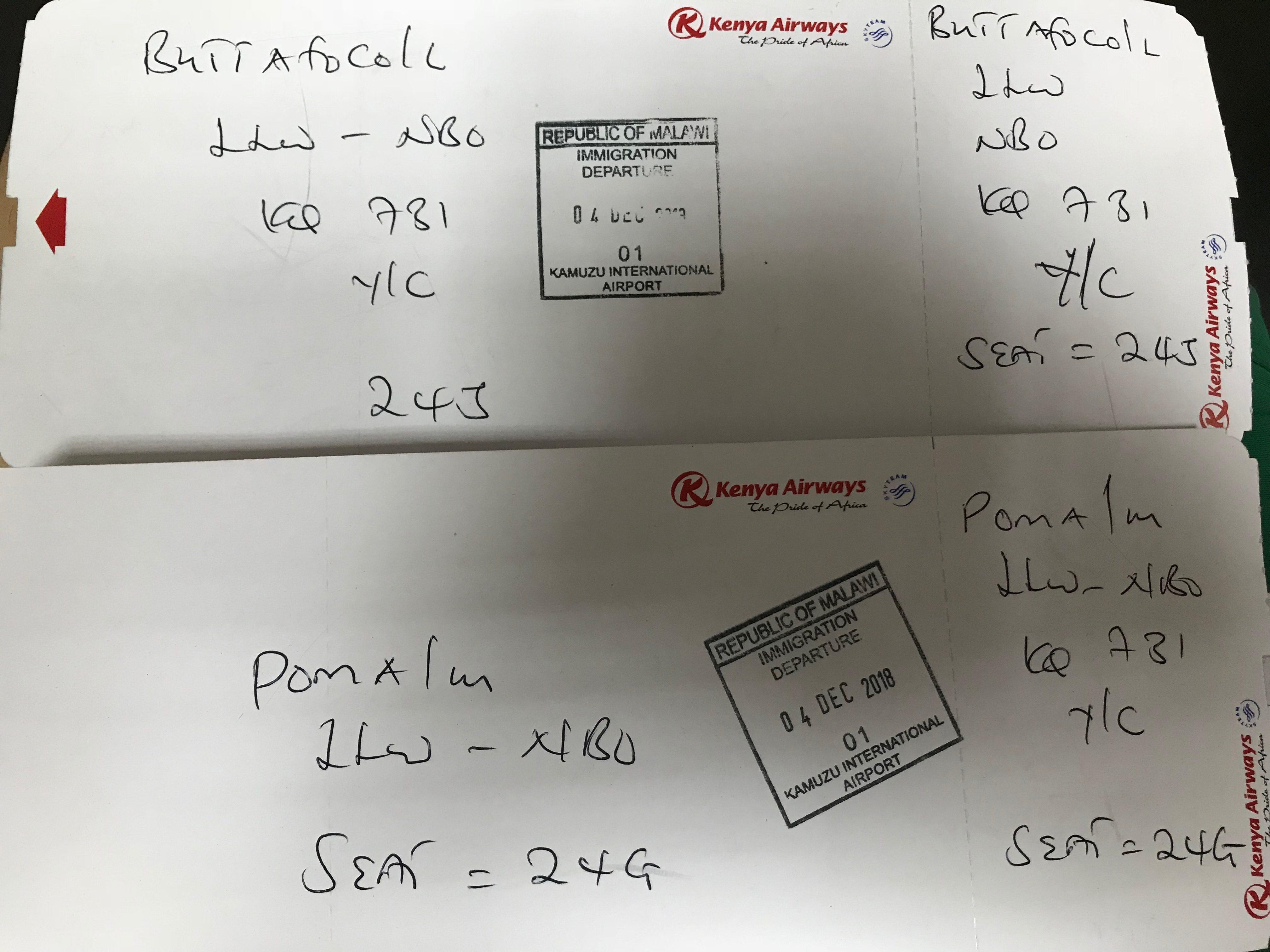 Handwritten boarding passes